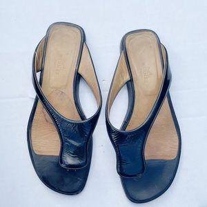 Hermes Black Leather Thong Flip Flop Sandals
